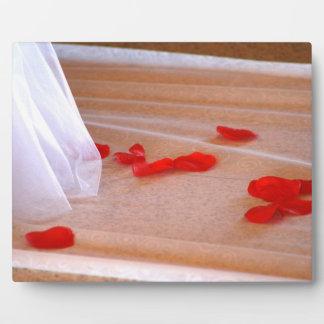 Rose Petals Wedding Dress Train tan background Plaques