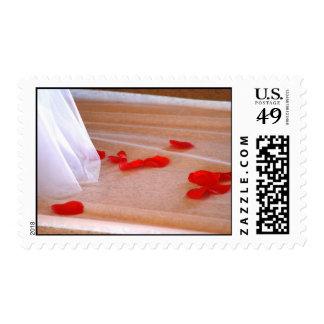 Rose Petals Wedding Dress Train tan background Postage Stamps