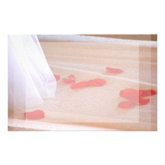 Rose Petals Wedding Dress Train tan background Stationery Paper