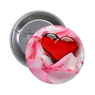 Rose Petals with Heart - Button