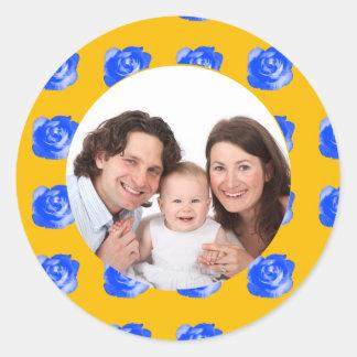 Rose/ Photo Classic Round Sticker