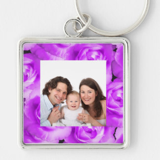 Rose/ Photo Silver-Colored Square Keychain