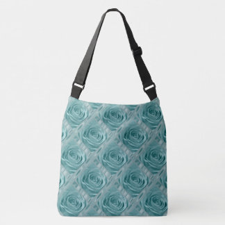 Rose Photography Aqua lace and Satin Digital Art Crossbody Bag