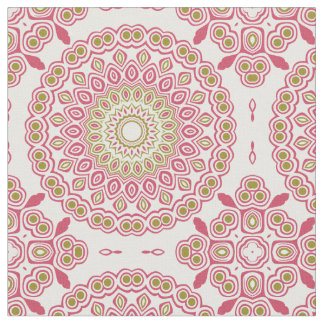 Rose Pink and Olive Green Kaleidoscope Flowers Fabric