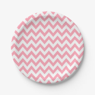Rose Pink and White Chevron Paper Plate 7 Inch Paper Plate