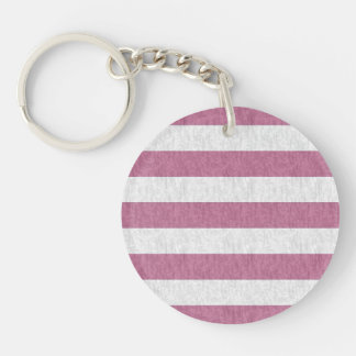 Rose Pink and White Stripes Single-Sided Round Acrylic Keychain