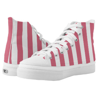 Rose Pink and White Vertical Stripes High-Top Sneakers