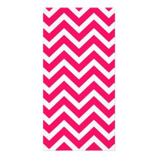 Rose Pink and White ZigZag Chevron Valentine Waves Photo Card