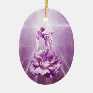Rose pink Angel flame of love Ceramic Ornament