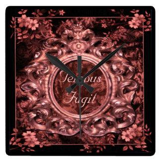 Rose Pink Brocade & Tempus Fugit script Wall Clock