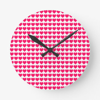 Rose Pink Candy Hearts on White Round Wall Clocks