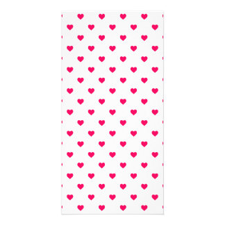 Rose Pink Candy Polkadot Hearts on White Picture Card