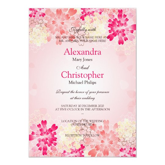 Rose Pink Champagne Flowers Retro Wedding S3 Card