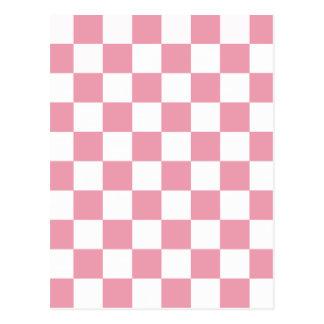 Rose Pink Checkerboard Postcard