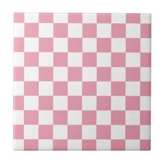 Rose Pink Checkerboard Tile