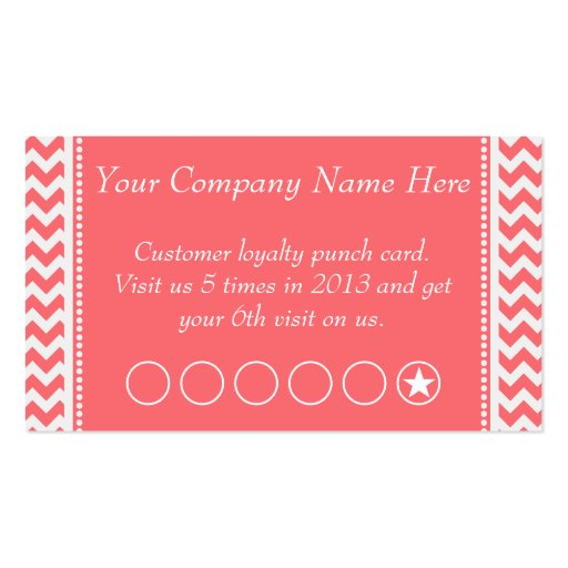 Rose pink chevron discount promotional punch card business for Promotional business cards