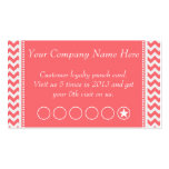 Rose Pink Chevron Discount Promotional Punch Card Business Card Templates