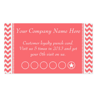 Rose Pink Chevron Discount Promotional Punch Card Double-Sided Standard Business Cards (Pack Of 100)