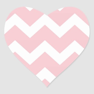 Rose Pink Chevron Heart Sticker
