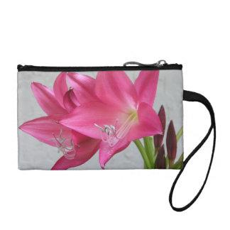 Rose Pink Crinum Lily Coin Purse  Bag