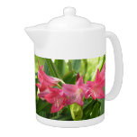 Rose pink Crinum Lily Teapot in two sizes