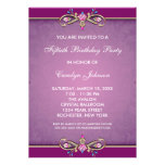 Rose Pink Damask 50th Birthday Party Invitation