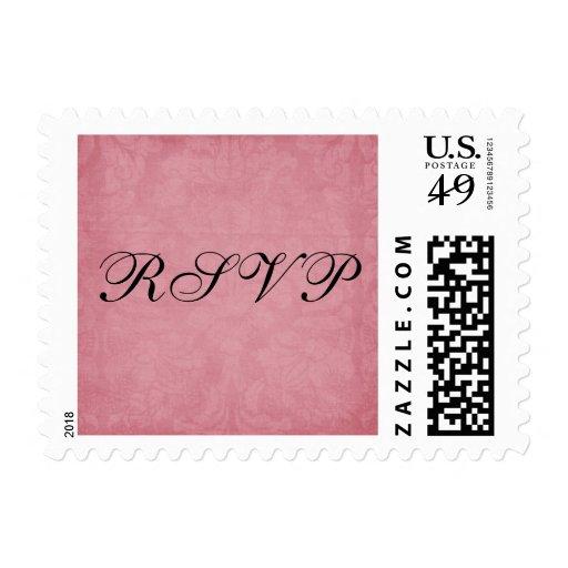 Rose Pink Damask RSVP Postage Stamps