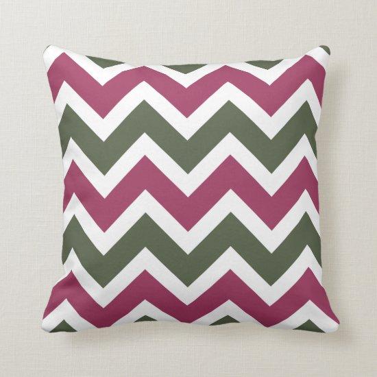 Rose Pink Dark Green Chevron Zigzag Pattern Throw Pillow