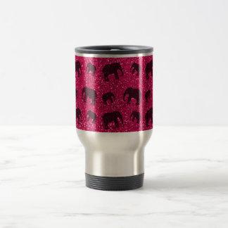 Rose pink elephant glitter pattern 15 oz stainless steel travel mug