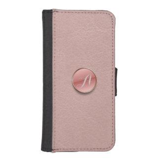 Rose Pink Faux Leather 3D Button Monogram iPhone 5 iPhone SE/5/5s Wallet Case