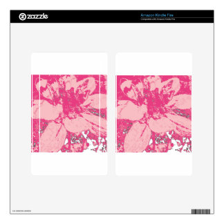 Rose Pink Floral Dahlia Flower Pattern Skins For Kindle Fire