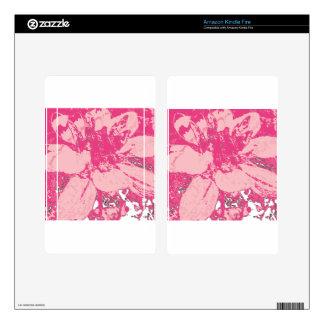 Rose Pink Floral Dahlia Flower Pattern Skins For Kindle Fire