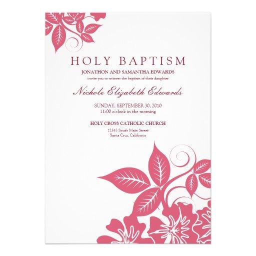 Rose Pink Floral Holy Baptism Invitation