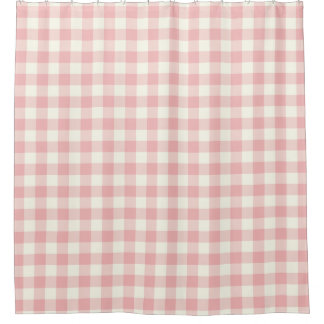 Rose Pink Gingham Shower Curtains Shower Curtain