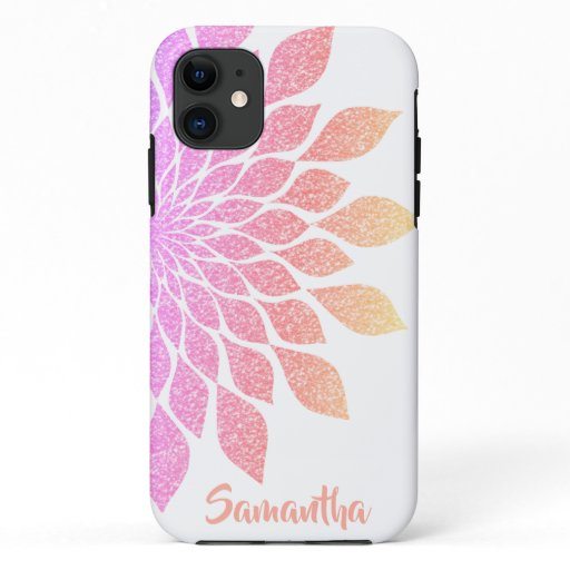 Rose Pink Girly Floral Glitter iPhone 11 Case