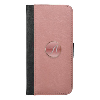 Rose Pink Glass 3D Effect Button Girly Monogram iPhone 6/6s Plus Wallet Case