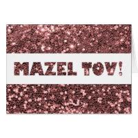 Rose Pink Glitter Mazel Tov Congratulations Card