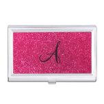 Rose pink glitter monogram business card holder