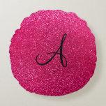 Rose pink glitter monogram round pillow
