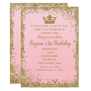 Rose Pink Gold Glitter Crown 1ST Birthday Party Invitation