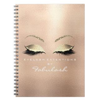 Rose Pink Gold Glitter Eyes Makeup Beauty Mesh Notebook