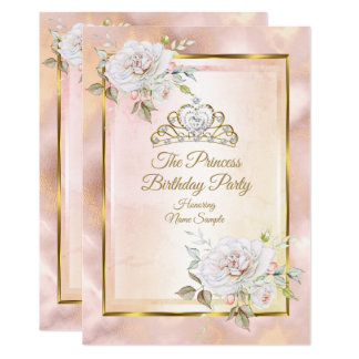 Rose Pink Gold Princess Birthday Party Invite