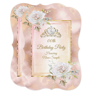 Rose Pink Gold Princess Birthday Party Invite 2