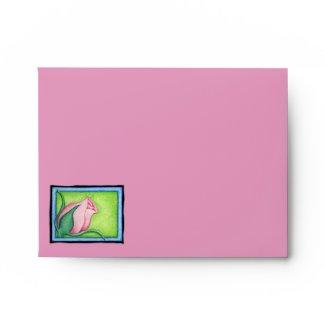 Rose pink green Note Card Envelope envelope