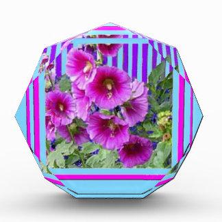 Rose-Pink Hollyhocks Blue Gifts By Sharles Awards