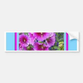 Rose-Pink Hollyhocks Blue Gifts By Sharles Bumper Sticker