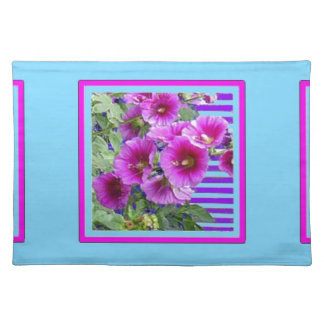 Rose-Pink Hollyhocks Blue Gifts By Sharles Place Mats