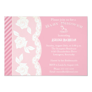 Rose Pink, Ivory Floral Lace Baby Shower Invite