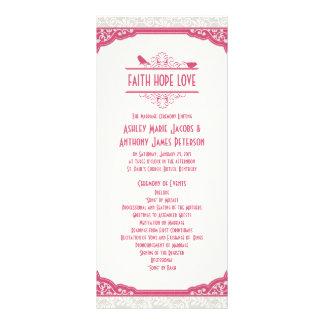 Rose Pink Ivory Lace Birds Wedding Program