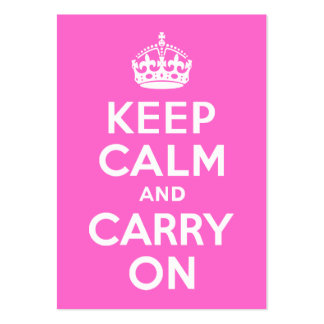 Rose Pink Keep Calm and Carry On Business Cards